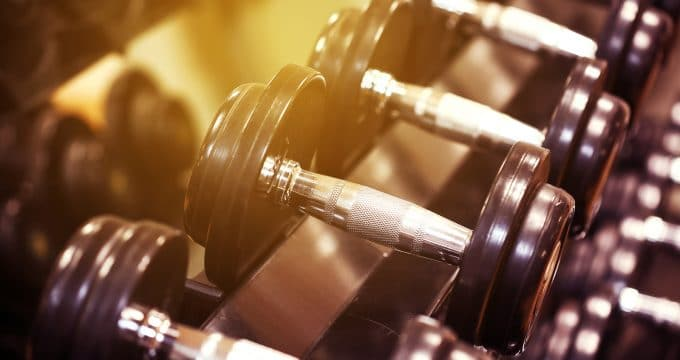 Sport equipment in fitness room or gym room, relax room for healthy people, Dumbbell in fitness and gym room,sport relax and healthy life, favorite sport or private sport in indoor or sport complex.