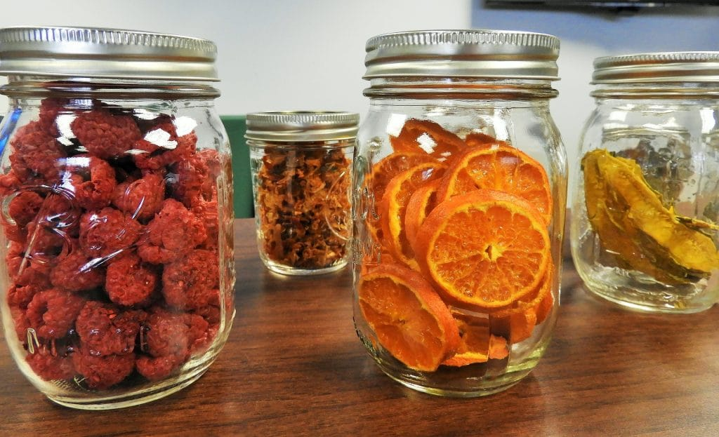 dried fruits out inside the mason jars