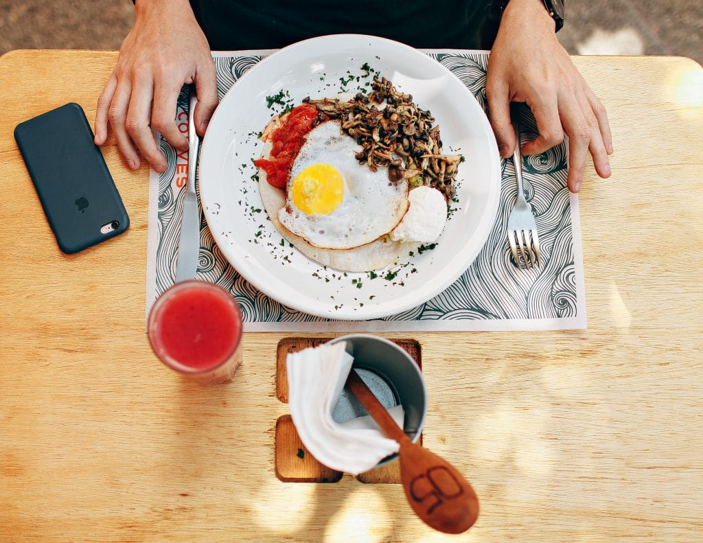 egg and healthy foods in the plate