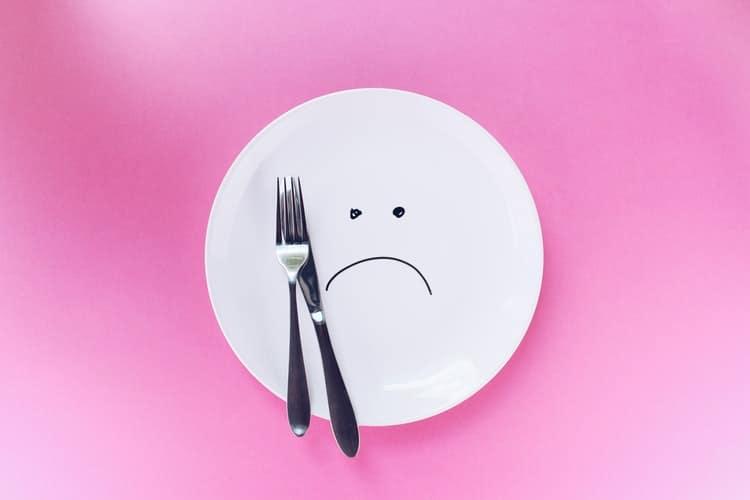 plate with sad emoji
