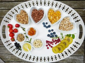 tray with different kinds of food