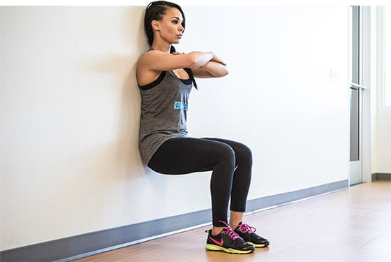 woman doing Wall Sit