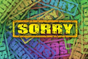 "graphics with  scattered words ""sorry"""